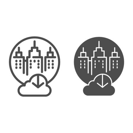 City cloud storage line  glyph icon. City data storage vector illustration isolated on . Database cloud computing outline style design, designed for web  app.  . Ilustracja