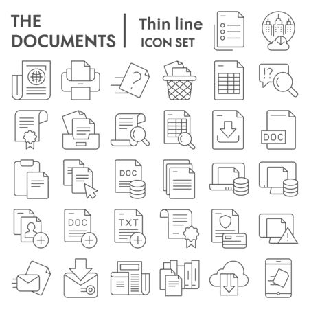 Documents thin line icon set, papers  files symbols collection, vector sketches, logo illustrations, data signs linear pictograms package isolated on  background,  .