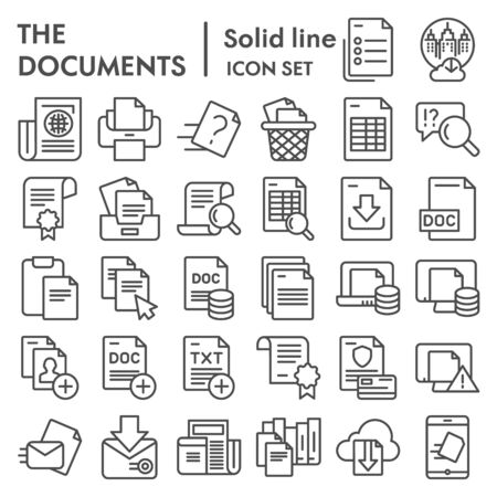 Documents line icon set, papers  files symbols collection, vector sketches, logo illustrations, data signs linear pictograms package isolated on  background,  .
