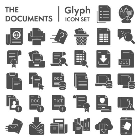 Documents glyph icon set, papers  files symbols collection, vector sketches, logo illustrations, data signs solid pictograms package isolated on  background,  .