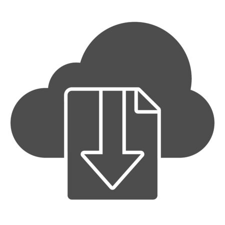 Cloud download file solid icon. File on cloud storage vector illustration isolated on white. Documents downloading glyph style design, designed for web and app. Eps 10