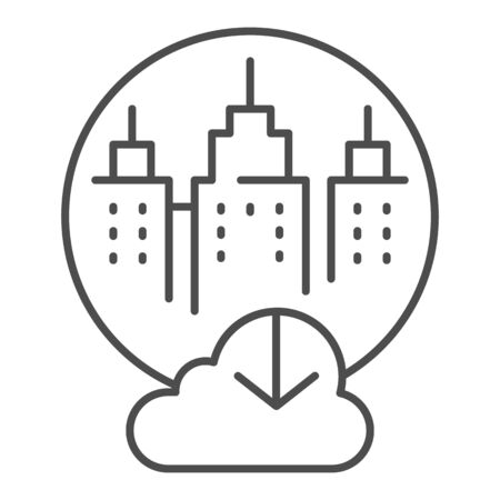 City cloud storage thin line icon. City data storage vector illustration isolated on . Database cloud computing outline style design, designed for web  app.  .