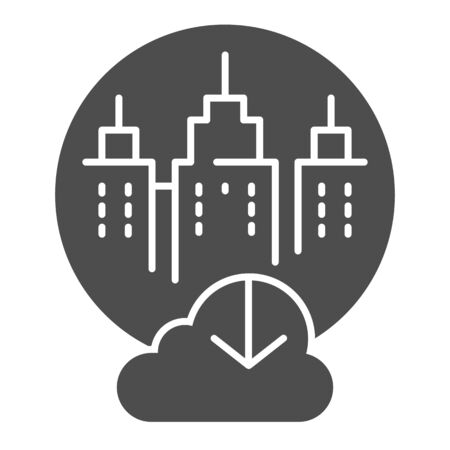 City cloud storage solid icon. City data storage vector illustration isolated on . Database cloud computing glyph style design, designed for web  app.  .