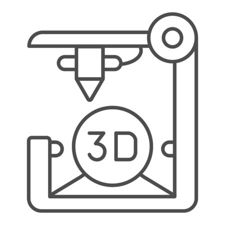 3D printer thin line icon. 3D print vector illustration isolated on . 3d future technology outline style design, designed for web  app.  .