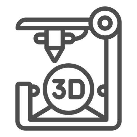 3D printer line icon. 3D print vector illustration isolated on . 3d future technology outline style design, designed for web  app.  . Ilustracja