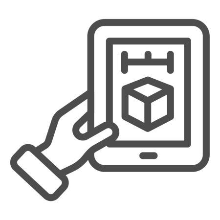 3d cube on tablet line icon. 3D modeling on digital tablet vector illustration isolated on . 3d design outline style design, designed for web  app.  .