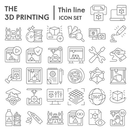 3D printing thin line icon set, 3d print industry symbols collection, vector sketches, logo illustrations, future technology signs linear pictograms package isolated on white background, Ilustração