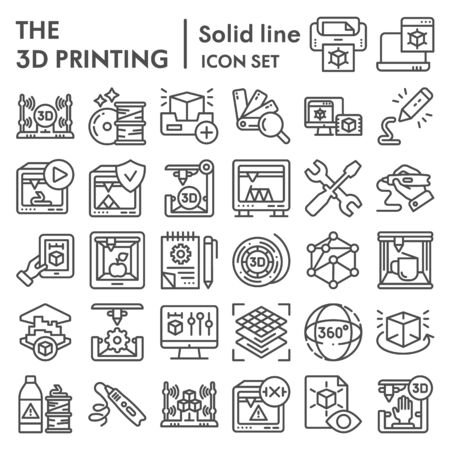 3D printing line icon set, 3d print industry symbols collection, vector sketches, logo illustrations, future technology signs linear pictograms package isolated on white background,