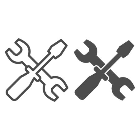 Wrench and screwdriver line and glyph icon. Options vector illustration isolated on white. Crossed repair tools outline style design, designed for web and app. Ilustracja