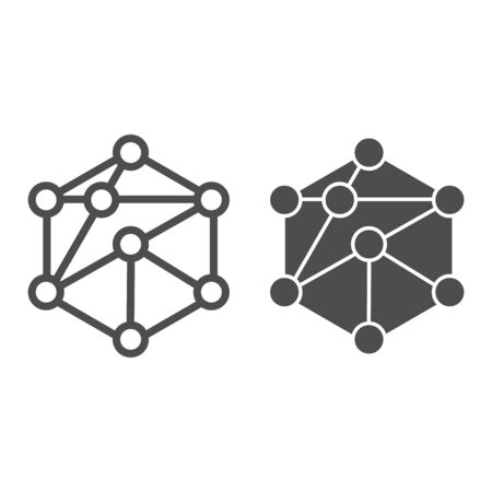 Cube network line and glyph icon. Blockchain vector illustration isolated on white. Cube structure outline style design, designed for web and app.