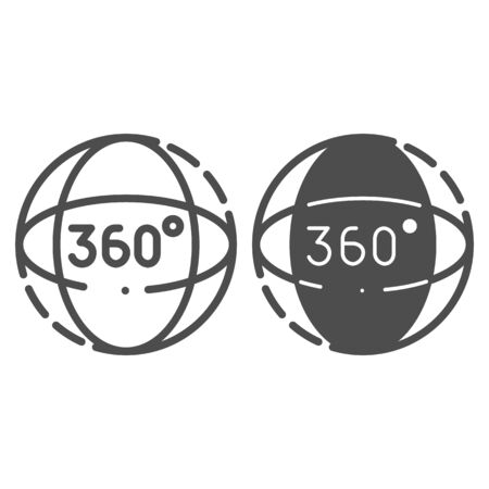 360 degrees rotation line and glyph icon. Angle 360 degrees vector illustration isolated on white. 360 degrees view outline style design, designed for web and app.