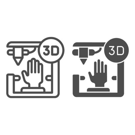 3D organ printing line and glyph icon. Bionic hand printing vector illustration isolated on white. 3d arm printing outline style design, designed for web and app.