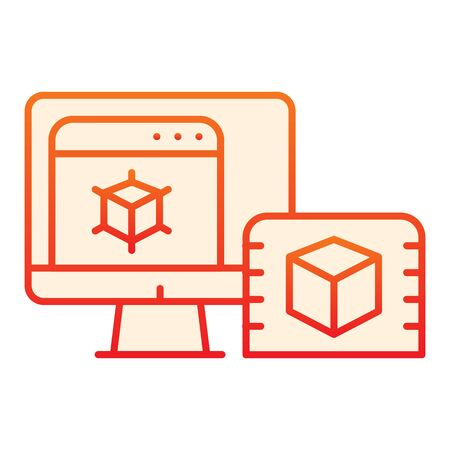 3d design on computer flat icon. Pc monitor with 3d project orange icons in trendy flat style. 3D modelling on desktop gradient style design, designed for web and app.