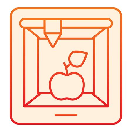 3d food printing flat icon. 3D apple print orange icons in trendy flat style. 3d meal printing gradient style design, designed for web and app.