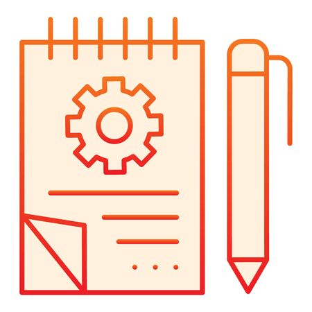 Sketchbook with gear flat icon. Notebook with pencil orange icons in trendy flat style. Notepad with  project gradient style design, designed for web and app.  .