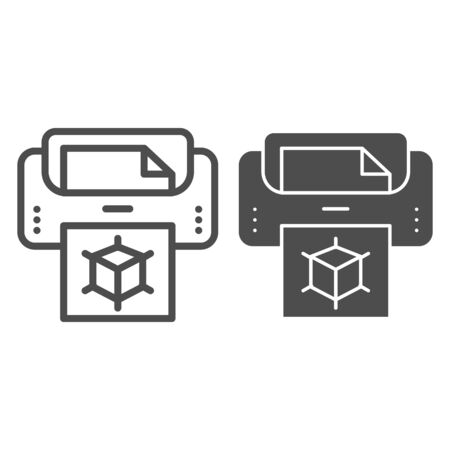 3d printer with document line and glyph icon. Print machine vector illustration isolated on white. 3d technology outline style design, designed for web and app.  .