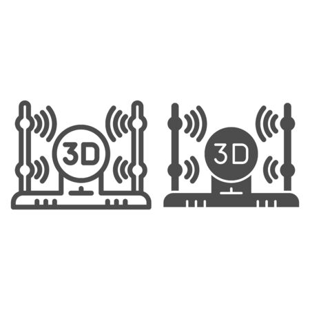 3D scanner line and glyph icon. 3d scanning vector illustration isolated on white. 3D scan technology outline style design, designed for web and app.  .