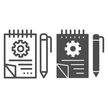 Notebook with pencil line and glyph icon. Notepad with  project vector illustration isolated on white. Sketchbook with gear outline style design, designed for web and app.  .