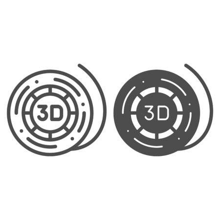3d printer reel line and glyph icon. Coil for 3d printer vector illustration isolated on white. 3d printer filament spool outline style design, designed for web and app.  .