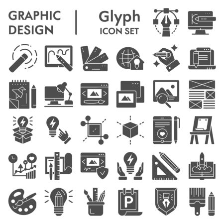 Graphic design glyph icon set, art tools symbols collection, vector sketches, logo illustrations, drawing equipment signs solid pictograms package isolated on white background,