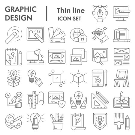 Graphic design thin line icon set, art tools symbols collection, vector sketches, logo illustrations, drawing equipment signs linear pictograms package isolated on white background Ilustração