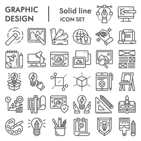 Graphic design line icon set, art tools symbols collection, vector sketches, logo illustrations, drawing equipment signs linear pictograms package isolated on white background
