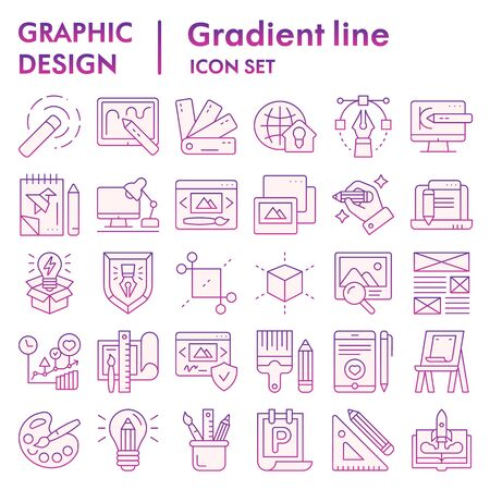 Graphic design flat icon set, art tools symbols collection, vector sketches, logo illustrations, drawing equipment signs violet gradient pictograms package isolated on white background,  .