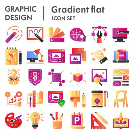 Graphic design flat icon set, art tools symbols collection, vector sketches, logo illustrations, drawing equipment signs color gradient pictograms package isolated on white background,