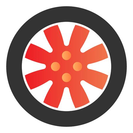 Tire flat icon. Automobile wheel color icons in trendy flat style. Car part gradient style design, designed for web  app.  .