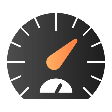 Speedometer flat icon. Tachometer color icons in trendy flat style. Car dashboard gradient style design, designed for web and app. Eps 10.