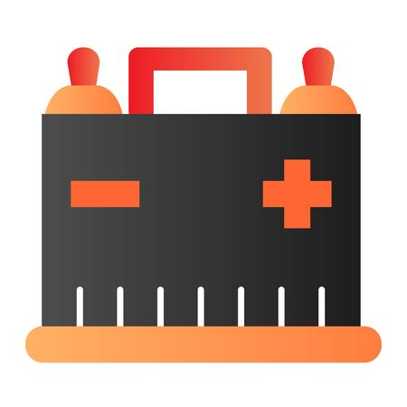 Car battery flat icon. Auto alkaline color icons in trendy flat style. Automobile accumulator gradient style design, designed for web  app.  .