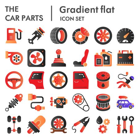 Car parts flat icon set, auto details symbols collection, vector sketches, logo illustrations, automotive repair signs color gradient pictograms package isolated on  background,  . Ilustracja