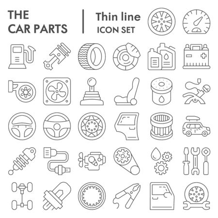 Car parts thin line icon set, auto details symbols collection, vector sketches, logo illustrations, automotive repair signs linear pictograms package isolated on white background,