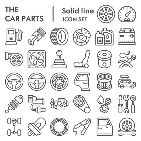 Car parts line icon set, auto details symbols collection, vector sketches, logo illustrations, automotive repair signs linear pictograms package isolated on white background
