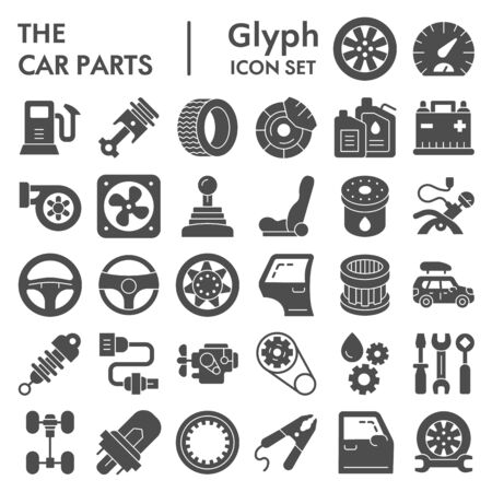 Car parts glyph icon set, auto details symbols collection, vector sketches, logo illustrations, automotive repair signs solid pictograms package isolated on white background,  .