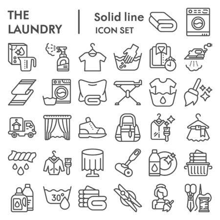 Laundry line icon set, washing clothes symbols collection, vector sketches, logo illustrations, housework signs linear pictograms package isolated on white background,  . Ilustração