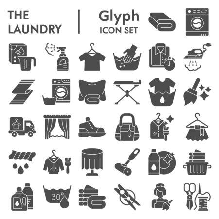 Conjunto de iconos de glifo de lavandería, colección de símbolos de lavado de ropa, bocetos vectoriales, ilustraciones de logotipos, paquete de pictogramas sólidos de signos de tareas domésticas aislado sobre fondo blanco.