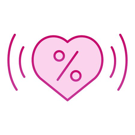 Love percentage flat icon. Heart with percentage pink icons in trendy flat style. Heart and discount gradient style design, designed for web and app.