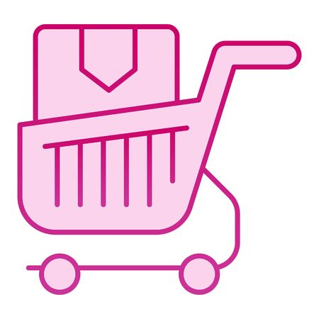 Shopping cart with box flat icon. Purchase in market trolley pink icons in trendy flat style. Shopping trolley with box gradient style design, designed for web and app. Eps 10. Illustration