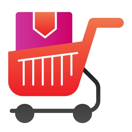 Shopping cart with box flat icon. Purchase in market trolley color icons in trendy flat style. Shopping trolley with box gradient style design, designed for web and app. Eps 10. Illustration