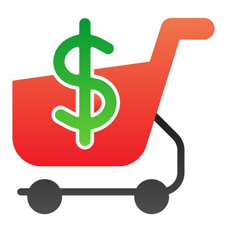 Shopping cart with dollar flat icon. Market cart and money symbol color icons in trendy flat style. Shopping trolley gradient style design, designed for web and app. Eps 10.