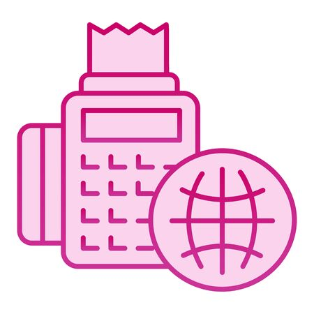 Cash register and globe flat icon. Cash machine and planet symbol pink icons in trendy flat style. Global service payment gradient style design, designed for web and app. Eps 10.
