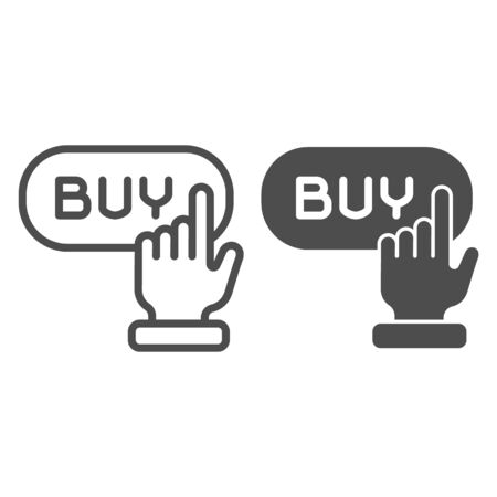 Buy button line and glyph icon. Online shop vector illustration isolated on white. Hand and buy button outline style design, designed for web and app. Eps 10. Foto de archivo - 131071878