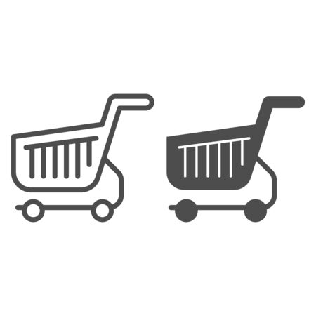 Shopping cart line and glyph icon. Shop basket vector illustration isolated on white. Market trolley outline style design, designed for web and app. Eps 10.