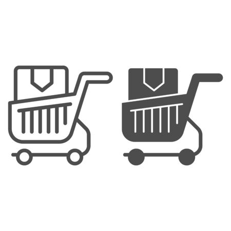 Shopping cart with box line and glyph icon. Purchase in market trolley vector illustration isolated on white. Shopping trolley with box outline style design, designed for web and app. Eps 10. Stock Vector - 131071891