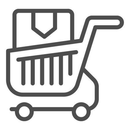 Shopping cart with box line icon. Purchase in market trolley vector illustration isolated on white. Shopping trolley with box outline style design, designed for web and app. Eps 10. Stock Vector - 131071704