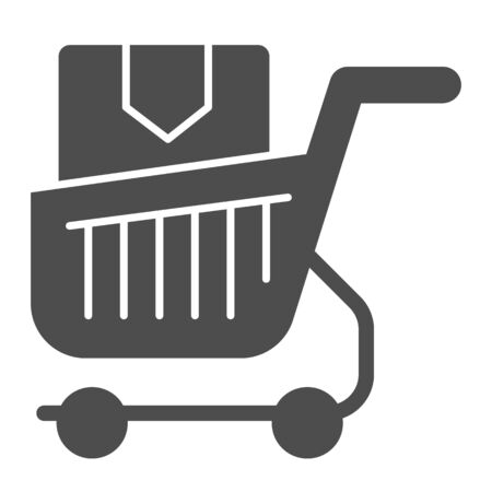 Shopping cart with box solid icon. Purchase in market trolley vector illustration isolated on white. Shopping trolley with box glyph style design, designed for web and app. Eps 10. Stock Vector - 131071708