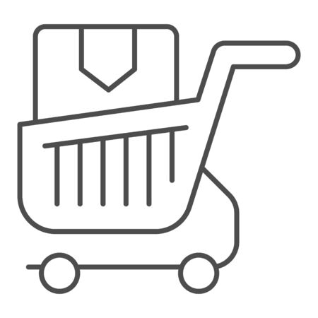 Shopping cart with box thin line icon. Purchase in market trolley vector illustration isolated on white. Shopping trolley with box outline style design, designed for web and app. Eps 10.