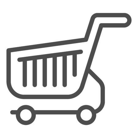 Shopping cart line icon. Shop basket vector illustration isolated on white. Market trolley outline style design, designed for web and app. Eps 10.