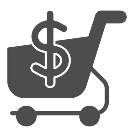 Shopping cart with dollar solid icon. Market cart and money symbol vector illustration isolated on white. Shopping trolley glyph style design, designed for web and app. Eps 10. Illustration